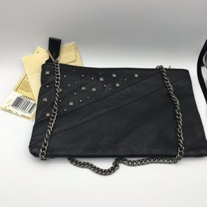 NWT Genuine Leather Silver Stud and Chain Purse